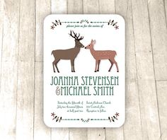 Stag and Doe Woodland Wedding Invitation, custom wording, A6 printable digital invite, round corners, evergreen and brown, 4.5x6.25 by VizualStorm on Etsy https://www.etsy.com/listing/234707455/stag-and-doe-woodland-wedding-invitation