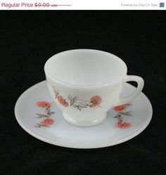 Fire King Glass Fleurette Teacup Saucer Vtg Red Flower