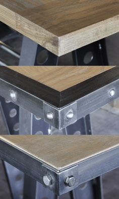 Here are the 3 top trims we do for tables and desks, wood edge, riveted edge, and bolted corner. Wood pictured is our worn oak.