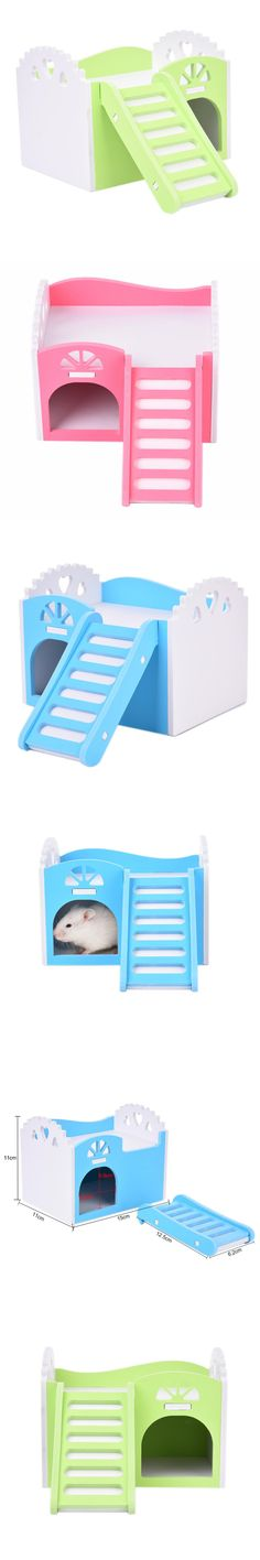 Small Pet Animal Bunk Beds Climbing Toy bed with Stairs for Hamster/Chinchillas/Guinea Pigs Funny Play Toys Chew Toy Small pets