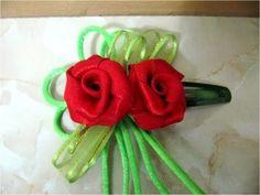 Moños con Rosas de cintas para el cabello