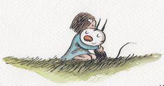 Enriqueta y Fellini by Liniers Kawaii Illustration, Graphic Illustration, Garden Crafts, Conte, Vintage Children, Illustrators, Nerd, Instagram, Drawings