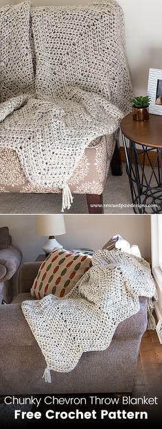 Chunky Chevron Throw Blanket Free Crochet Pattern #crochet #crafts #yarn #homedecor #handmade #style