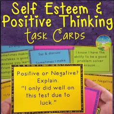 Self-Esteem and Positive Thinking Task Cards by Pathway 2 Success Activities For Teens, Therapy Activities, Group Activities, Therapy Worksheets, Counseling Activities, Coping Skills, Social Skills, Social Work, Building Self Esteem