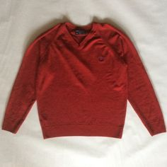 Fred Perry sweater in cranberry red soft wool, pullover vee neck with royal blue embroidered logo, long sleeve, men's medium / women's large by afterglowvintage on Etsy