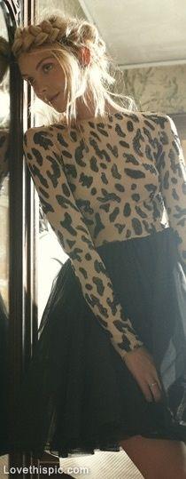 Leopard fashion hair black skirt leopard girlie fashion photography