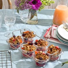 Sparkling wine-soaked fruit adds an elegant note to a luxuriously easy brunch. Get some extra sleep by preparing the night before and popping this dish into the oven the next day. Recipe: Sparkling Fruit with Granola Streusel   - Delish.com