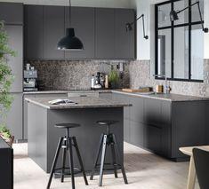 Kjøkken – VOXTORP - IKEA Laminate Countertops, Kitchen Countertops, Concrete Countertops, Grey Kitchens, Home Kitchens, Small Modern Kitchens, Modern Small Kitchen Design, Modern Grey Kitchen, Urban Kitchen