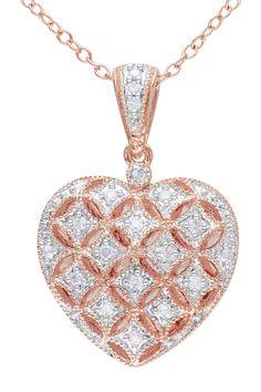 Diamond Heart Locket Pendant Necklace - 0.14 ctw