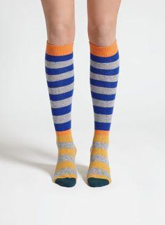 Olja-polvisukat (harmaa, sininen, keltainen) |Asusteet, Sukat & sukkahousut, Laukut & asusteet | Marimekko