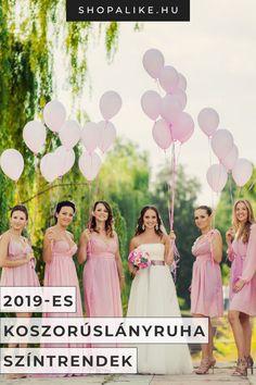 A koszorúslányok ruhájának kiválasztása épp olyan nehéz, mint a tökéletes menyasszonyi ruha megtalálása. Olyan alkalmi ruhára van szükséged, ami illik az esküvő színvilágához és stílusához. Bemutatjuk 2019 legtrendibb koszorúslányruha színeit, hogy inspiráljunk. Választhatsz klasszikus rózsaszínt vagy elegáns kéket, ha fontosak számodra a hagyományok. Ha valami merészebbre vágysz, kipróbálhatod a most nagyon divatos korallt, pirosat vagy sárgát. #esküvő #koszorúslányruha #esküvőidivat Bridesmaid Dresses, Wedding Dresses, Fashion, Bridesmade Dresses, Bride Dresses, Moda, Bridal Gowns, Fashion Styles, Weeding Dresses