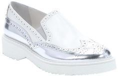 $399, Silver Leather Loafers: Prada Sport Silver And White Leather Slip On Wingtip Loafers. Sold by Bluefly. Click for more info: https://lookastic.com/women/shop_items/236822/redirect