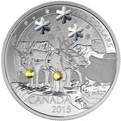 2015 $20 Holiday Christmas Reindeer - Pure Silver Coin Royal Canadian Mint RCM