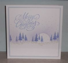Ink dusted, stamped scenic christmas card | docrafts.com