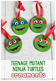 Teenage Mutant Ninja Turtle salt dough ornaments - simple and fun craft idea for kids!