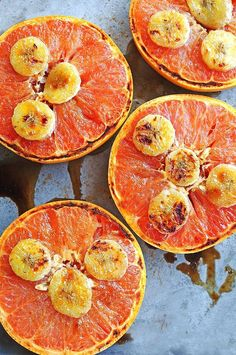 Broiled Grapefruit with banana slices and drizzled honey. Mmm. #ingredientmonth