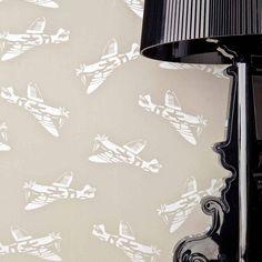 'Spitfires' Grey Aeroplane Wallpaper