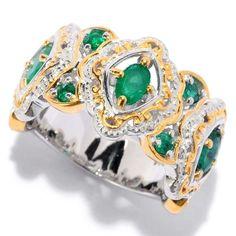 Michael Valitutti | Palladium Silver Oval & Round Zambian Emerald Scrollwork Halo Band Ring