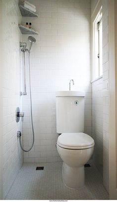 Ingenious solutions to common design problems.....a 3/4 bath in 9 square feet of space