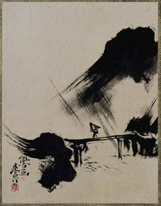 Bridge over mountain stream. Shibata Zeshin. Japanese Lacquer painting. Nineteenth century. From an album. Tokyo National Museum. 漆絵画帳 列品番号: H-4471 作者: 柴田是真 時代: 明治時代