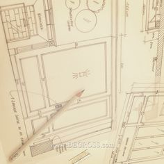 detail - drawing DEGROSS detail fireplace interior  house , mirror hand made