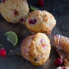 Cranberry Lime & Coconut Muffins, the perfect winter/summer muffin for this in-between phase!