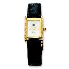 Classy Jackie Kennedy watch with cobblestone style black strap.