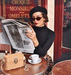 (Old French) Nobility of birth or of character; For beautiful eyes, look for the good in others; for beautiful lips, speak only words of kindness, and for poise, walk with the knowledge that you are never alone. Estilo Beatnik, Taylor Lashae, Photo Vintage, Paris Cafe, Coffee Girl, Jane Birkin, Aesthetic Photo, Parisian Style, Belle Photo