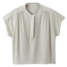 綿強撚ボイルスキッパー半袖ブラウス