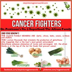 ☛ Do YOU know the Allium Family?  It is one of the most potent cancer-fighter family.  FOR THE TOP 10 CANCER-FIGHTING FOODS:  http://www.stepintomygreenworld.com/greenliving/greenfoods/top-10-cancer-fighting-foods/  ✒ Share | Like | Re-pin | Comment