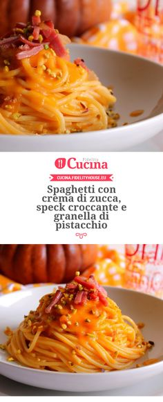 Spaghetti con crema di zucca, speck croccante e granella di pistacchio della nostra utente Giovanna. Unisciti alla nostra Community ed invia le tue ricette! Veggie Recipes, Pasta Recipes, Great Recipes, Cooking Recipes, Healthy Recipes, International Recipes, Italian Recipes, Food Inspiration, Love Food