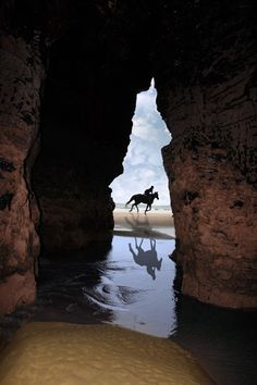 cliff caves in ballybunion county kerry ireland with a silhouette of horse and rider galloping on the beach
