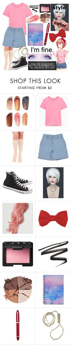 """Sayori - Doki Doki Literature Club"" by dappershadow ❤ liked on Polyvore featuring Bite, Converse, WithChic, American Eagle Outfitters, NARS Cosmetics, lilah b., Forever 21 and OMAS"