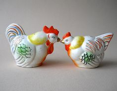 Vintage Chickens Salt and Pepper Shakers 1950's by whatnotsandsuch, $13.00