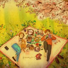 The weather is so beautiful We lay down under the cherry blossoms. You look so lovely.