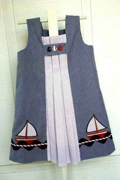 """Sailboat applique dress Pattern used to make this is """"Birthday Party Dress"""" by Oliver + S Little Dresses, Little Girl Dresses, Girls Dresses, Sewing For Kids, Baby Sewing, Toddler Outfits, Kids Outfits, Fabric Finders, Applique Dress"""