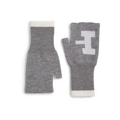 Band of Outsiders Atari Combat Fingerless Wool Gloves ($58) ❤ liked on Polyvore featuring accessories, gloves, apparel & accessories, heather grey, fingerless combat gloves, long fingerless gloves, wool fingerless gloves, woolen gloves and band of outsiders