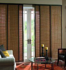bamboo shades a natural setting sliding door
