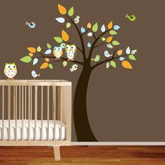 Custom Listing Vinyl Wall Decal Stickers Owl Tree Set Nursery boys baby. $169.20, via Etsy.