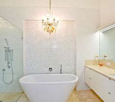 White Mosaic Tiles Bathroom