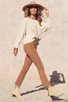 Sloane Jeans In Tan – Mister Zimi Cream Style, Warm Hug, End Of Season Sale, Bambi, Cropped Jeans, Stretch Denim, Blue Denim, Jumper, Khaki Pants