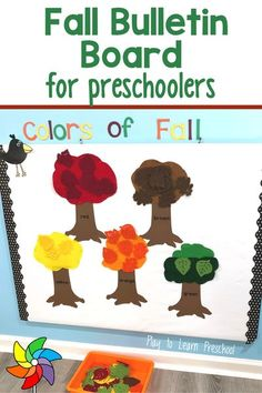 """It's easy to """"fall"""" in love with this Fall interactive bulletin board! Preschoolers will reinforce their knowledge of colors, practice sorting, and learn about fall leaves – without taking up an inch of precious floor space. It's also a beautiful display when not in use, so be prepared to """"rake"""" in the compliments!"""