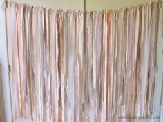 Fabric Backdrop Rag Streamer Garland with Burlap by AnnKayDesign, €109.00