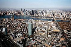 Bird's eye view of Long Island City & Manhattan