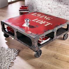 Great industrial coffee table made with angle irons.