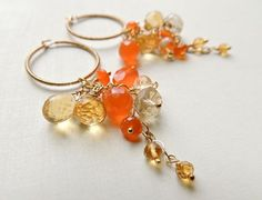Andalusia Earrings with Carnelian and Citrine Gold by FlowDesigns, $78.00