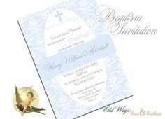 Elegant Blue Damask Baptism Invitation by OldWaysFussNFeathers, $15.00