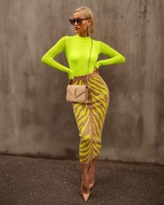 Ocstrade New Arrival 2020 Fashion Long Bandage Skirt Women Lime Zebra Print Bodycon Bandage Skirt Midi Club Party Skirt Paris Chic, Neon Outfits, Fashion Outfits, Bar Outfits, Vegas Outfits, Swag Fashion, Woman Outfits, Miami Fashion, Club Outfits