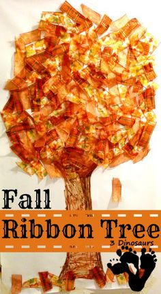 Fall Ribbon Tree Children's Crafts / Art Projects. Great for Pre-K Complete Preschool Curriculum's Fall theme. Repinned by Pre-K Complete. Visit us at www.PreKComplete.com, FB, Twitter and Google Plus.