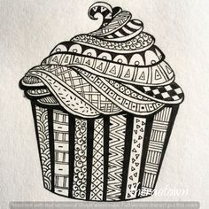 Drawn cupcake zentangle - pin to your gallery. Explore what was found for the drawn cupcake zentangle Mandala Doodle, Easy Mandala Drawing, Mandala Art Lesson, Mandala Artwork, Easy Doodle Art, Doodle Art Designs, Doodle Art Drawing, Zentangle Drawings, Zentangles